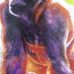 """WILLIE B""  Zoo Atlanta Series 24"" x 48"" Mixed Media on Reclaimed Wood Panel SOLD"