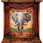 """ELEPHANT MAN Stage""  20 X 24 Mixed Media, Acrylic on Reclaimed Wood SOLD"